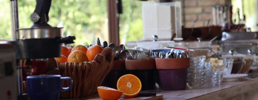 Orangenpresse am Frühstücksbuffet im Honigtal Farmland